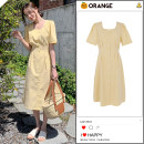 Dress Summer 2020 yellow S,M,L,XL Mid length dress singleton  Short sleeve commute square neck High waist lattice Single breasted A-line skirt puff sleeve Others 18-24 years old Type A Korean version Bows, ties, buttons
