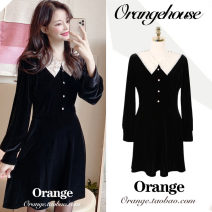 Dress Spring 2020 black S,M,L,XL Short skirt singleton  Long sleeves commute V-neck High waist Solid color Single breasted A-line skirt other Others 18-24 years old Type A Korean version