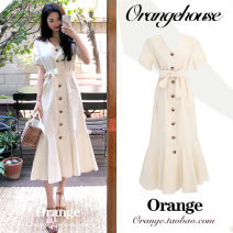 Dress Summer of 2019 Off white S,M,L,XL Mid length dress singleton  Short sleeve commute V-neck High waist Solid color Single breasted other routine 18-24 years old Type A Korean version Bandage 51% (inclusive) - 70% (inclusive)