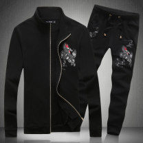 Sweater Youth fashion Others Black, white, white, black pants, black, white pants M,L,XL,2XL,3XL,4XL,5XL Plants and flowers Cardigan routine stand collar spring Slim fit leisure time Large size Chinese style routine T218 Terry cloth cotton printing No iron treatment Side seam pocket zipper