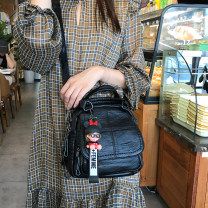 Bag The single shoulder bag PU Tote Bag Other / other brand new Japan and South Korea Small leisure time soft zipper yes Solid color Double root Yes youth Vertical square Splicing Soft handle polyester cotton Zipper bag, mobile phone bag, certificate bag soft surface Three dimensional bag