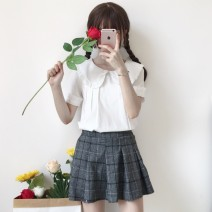 shirt white S,M,L,XL Summer of 2018 polyester fiber 96% and above Short sleeve Sweet Regular Doll Collar Single row multi button bishop sleeve Solid color 18-24 years old Straight cylinder Other / other solar system