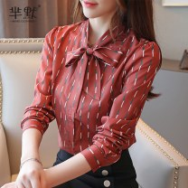 Lace / Chiffon Autumn of 2019 Brick red S,M,L,XL,2XL Long sleeves commute Socket singleton  easy Super short V-neck Dot routine 25-29 years old Other / other Patch, tie, splice lady 96% and above