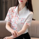 shirt White, collect and give gifts S,M,L,XL,2XL Summer 2020 polyester fiber 96% and above Short sleeve commute Regular square neck Single row multi button shirt sleeve Broken flowers Straight cylinder Korean version Print, button Chiffon