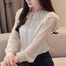 shirt Apricot, pink S,M,L,XL Spring 2020 polyester fiber 51% (inclusive) - 70% (inclusive) Long sleeves commute Regular Crew neck Socket routine Dot Straight cylinder Korean version Bow, Ruffle