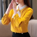 Lace / Chiffon Spring 2020 Blue, yellow S,M,L,XL,2XL Long sleeves commute Socket singleton  Self cultivation Super short stand collar other shirt sleeve Splicing lady 96% and above