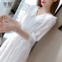 Dress Summer 2020 White, collect and give gifts S,M,L,XL Miniskirt singleton  elbow sleeve commute Doll Collar Elastic waist Solid color Socket A-line skirt routine Others Korean version 31% (inclusive) - 50% (inclusive) Chiffon