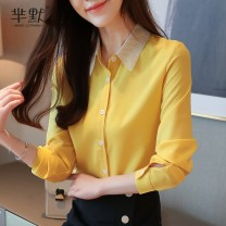 Lace / Chiffon Autumn of 2019 S,M,L,XL,2XL Long sleeves commute Socket singleton  easy Super short Polo collar Dot routine 25-29 years old Frenulum lady 96% and above