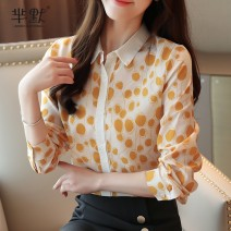 Lace / Chiffon Autumn of 2019 Red, yellow, black S,M,L,XL,2XL Long sleeves commute Socket singleton  easy Super short Polo collar Dot routine 25-29 years old Splicing lady 96% and above