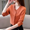 Lace / Chiffon Autumn of 2019 yellow S,M,L,XL,2XL Long sleeves commute Cardigan singleton  easy Super short V-neck Solid color routine 25-29 years old Other / other fungus Korean version 71% (inclusive) - 80% (inclusive) polyester fiber