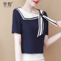 Lace / Chiffon Summer 2020 S,M,L,XL,2XL Short sleeve commute Socket singleton  Self cultivation Regular Crew neck Solid color routine bow Simplicity 96% and above polyester fiber