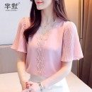 Lace / Chiffon Summer 2020 S,M,L,XL,2XL Short sleeve commute Socket singleton  easy Regular V-neck Solid color pagoda sleeve Korean version 96% and above polyester fiber