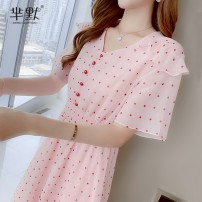 Dress Summer 2020 Picture color, collect and give gifts S,M,L,XL Miniskirt singleton  Short sleeve Sweet V-neck middle-waisted Dot Single breasted Big swing other Others Type A Button 31% (inclusive) - 50% (inclusive) Chiffon Chloroprene solar system