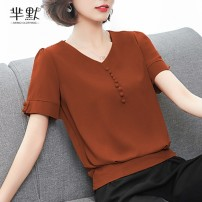 Lace / Chiffon Summer of 2018 Short sleeve Versatile Socket singleton  easy V-neck Solid color routine 91% (inclusive) - 95% (inclusive)