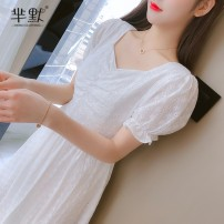 Dress Summer 2020 White, collect and give gifts S,M,L,XL,2XL Miniskirt singleton  Short sleeve commute middle-waisted Solid color zipper puff sleeve brocade cotton