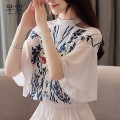 Lace / Chiffon Summer of 2019 Light pink S,M,L,XL,2XL Short sleeve commute Socket singleton  easy Super short Crew neck other routine 25-29 years old Print, button lady 96% and above polyester fiber