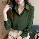 shirt Army green, Jasmine White, collect and give gifts S,M,L,XL,2XL Autumn 2020 polyester fiber 81% (inclusive) - 90% (inclusive) Long sleeves commute Regular Polo collar Single row multi button routine Solid color Self cultivation Korean version