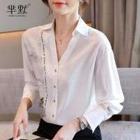 shirt White, collect and give gifts S,M,L,XL,2XL Spring 2021 other 96% and above Long sleeves commute Regular V-neck Single row multi button shirt sleeve Straight cylinder Korean version