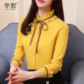 shirt White, pink, yellow S,M,L,XL,2XL Autumn of 2019 polyester fiber 96% and above Long sleeves commute Regular Lotus leaf collar Single row multi button Lotus leaf sleeve Solid color Self cultivation Other / other lady