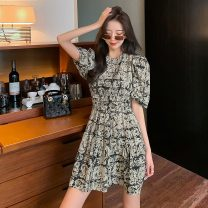Dress Summer 2021 Apricot, black S,M,L,XL Short skirt singleton  Short sleeve commute Crew neck High waist Decor zipper A-line skirt bishop sleeve Others 25-29 years old Type X lady printing 51% (inclusive) - 70% (inclusive) other
