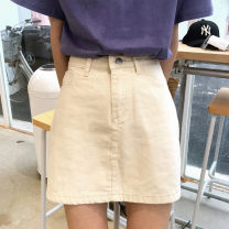 skirt Summer 2021 S,M,L Black, apricot, pink Short skirt Versatile High waist A-line skirt Solid color Type A 18-24 years old 31% (inclusive) - 50% (inclusive) Denim Other / other other