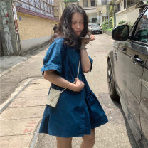 Dress Spring 2021 Post and Telecommunications blue Average size Short skirt singleton  Short sleeve commute Polo collar Loose waist Solid color Single breasted Ruffle Skirt routine Others 18-24 years old Type A Other / other Korean version 31% (inclusive) - 50% (inclusive) other other