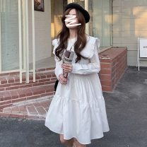 Dress Spring 2021 white Average size Mid length dress singleton  Long sleeves commute Hood High waist Solid color Single breasted A-line skirt routine Others 18-24 years old Type A Korean version Button 31% (inclusive) - 50% (inclusive) other