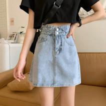 skirt Summer 2021 S,M,L,XL Blue, blue @ 6011 Short skirt commute High waist Denim skirt Solid color Type A 18-24 years old 31% (inclusive) - 50% (inclusive) Korean version