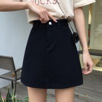 skirt Spring 2020 S,M,L,XL White, black Short skirt commute High waist A-line skirt Solid color Type A 18-24 years old 31% (inclusive) - 50% (inclusive) Denim other pocket Korean version