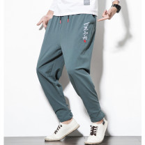 Casual pants Others Youth fashion Green, gray, Navy, d32b1 green, d32b1 gray, d32b1 Navy M,L,XL,2XL,3XL,4XL,5XL thin Ninth pants Other leisure easy D29C1 summer teenagers Chinese style 2021 Little feet Haren pants Embroidery Solid color cotton