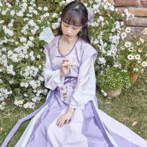 Hanfu 96% and above Spring 2021 Back (green), T-shirt (yellow), skirt (Orange), back (pink), T-shirt (pink), skirt (pink), back (purple), T-shirt (purple), skirt (purple) polyester fiber