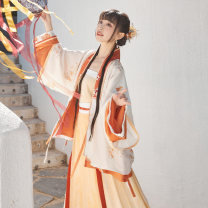 Hanfu 96% and above Half sleeve, cardigan, pleated skirt (3m swing) polyester fiber
