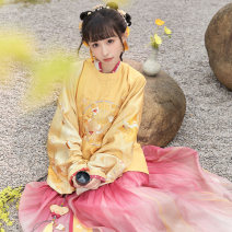 Hanfu 96% and above Winter 2020 Short jacket with round collar, cross collar, medium bodice, pleated skirt and accessories polyester fiber