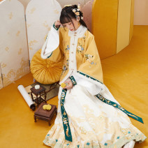 Hanfu 96% and above Autumn 2020 Cross collar blouse, square collar, half sleeve, pleated skirt, accessories Ribbon polyester fiber