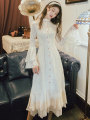 Dress Autumn of 2019 milky white S,M,L Miniskirt singleton  Long sleeves commute stand collar High waist Solid color Single breasted Flying sleeve Others Type A Other / other Retro Button 1016# other