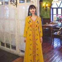 Dress Spring 2021 White, red, blue, yellow S,M,L,XL Miniskirt singleton  Long sleeves Sweet V-neck High waist Solid color Socket A-line skirt routine Others Type A Embroidery 31% (inclusive) - 50% (inclusive) other other Bohemia
