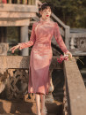 cheongsam Autumn 2020 S,M,L,XL Pink Long sleeves long cheongsam Retro High slit daily Oblique lapel Solid color 25-35 years old Piping polyester fiber