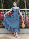 Dress Summer 2020 Malachite blue S,M,L longuette singleton  Short sleeve commute Crew neck High waist Solid color Single breasted A-line skirt routine Type A Splicing polyester fiber