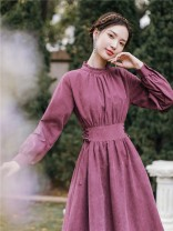 Dress Spring 2020 Retro purple S,M,L,XL Miniskirt singleton  Long sleeves commute stand collar High waist Solid color Socket A-line skirt routine Others Type A Retro Splicing