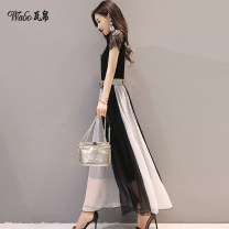 Dress Summer 2017 Black gold black white black red M L XL XXL longuette singleton  Short sleeve commute One word collar middle-waisted other Socket A-line skirt Petal sleeve Others 25-29 years old Type A Wannpoty / Wabo Korean version Lace with lace WB110410 More than 95% other Other 100%