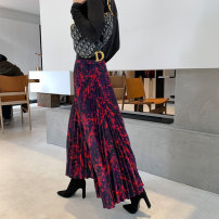 skirt Spring 2021 S,M,L,XL Purplish red Mid length dress Versatile High waist Pleated skirt Decor Type A 25-29 years old brocade polyester fiber