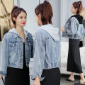 short coat Autumn of 2019 S,M,L,XL Black hooded jeans jacket, gray hooded jeans jacket, black dress Long sleeves have cash less than that is registered in the accounts routine singleton  Self cultivation Versatile routine Hood Single breasted Solid color Other / other Pockets, buttons, stitching