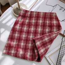 skirt Spring 2021 S M L Coffee red black Short skirt commute High waist A-line skirt lattice Type A 18-24 years old y4389 More than 95% Wool Xinshanmei other zipper Korean version Other 100% Pure e-commerce (online only)