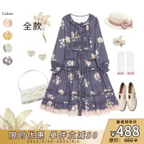 Dress Spring 2021 Yellow, pink, if grass color, Platycodon gray S. M, l, s (slow group shipment in October), m (slow group shipment in October), l (slow group shipment in October) Mid length dress Long sleeves Sweet Lotus leaf collar bishop sleeve CuteQ Lolita