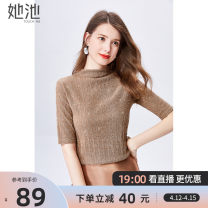 T-shirt Khaki - spot black - spot white - spot Khaki - pre sale black - pre sale white - pre sale S M L XL XXL Spring 2021 Short sleeve Half high collar Self cultivation Regular routine commute polyester fiber 96% and above 25-29 years old Korean version other Solid color She pool T01Z0466T