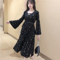 Dress Winter of 2019 black S,M,L,XL longuette singleton  Long sleeves commute V-neck Loose waist other Socket A-line skirt pagoda sleeve Others 25-29 years old Type A Korean version Frenulum 30% and below other other