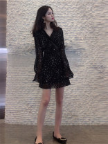 Dress Autumn of 2019 White long sleeves, black long sleeves, add to the shopping cart to give small gifts S,M,L,XL,2XL,3XL,4XL Short skirt singleton  Long sleeves commute V-neck High waist Broken flowers Socket Princess Dress Princess sleeve Others 18-24 years old Type A Korean version Chiffon fabric