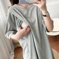 Nursing clothes Black, gray L,XL,2XL,3XL You Li ma mi Socket summer Short sleeve Medium length Korean version Dress Solid color Side opening cotton