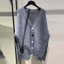 Wool knitwear Autumn of 2019 2 / s, 3 / m, 4 / L, 5 / XL grey Long sleeves singleton  Cardigan nylon 31% (inclusive) - 50% (inclusive) Regular routine commute easy V-neck routine Single breasted Xgirdearst / heathy
