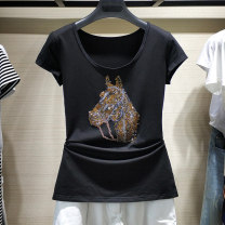 T-shirt black 2 / s, 3 / m, 4 / L, 5 / XL, 6 / XL Spring 2021 Short sleeve Crew neck Self cultivation Regular routine commute other 86% (inclusive) -95% (inclusive) Korean version originality Pinge Dixin Three dimensional decoration, inlaid with diamond